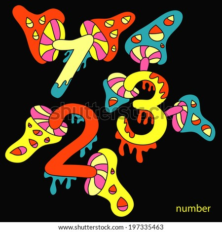 Colorful bold numbers vector set, psychedelic colors trendy style. part 3