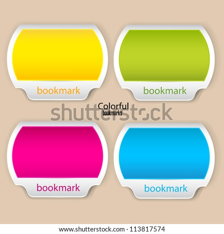 Colorful bookmarks and banners with place for text - stock vector