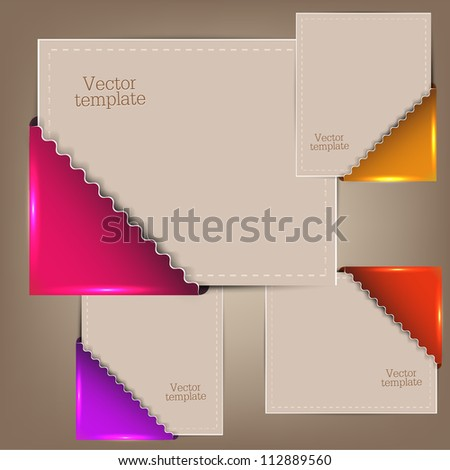 Colorful bookmarks and notes for text - stock vector