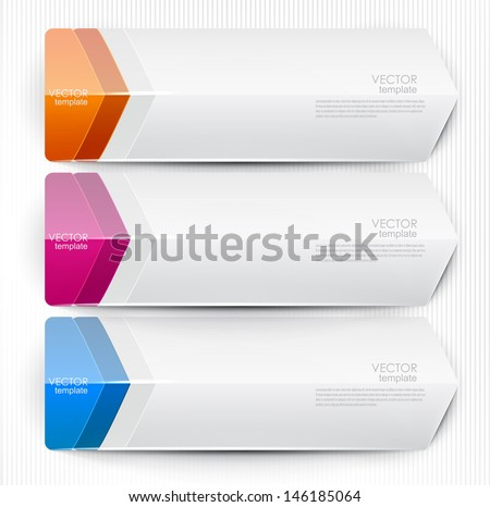 Colorful bookmarks, arrows, banners for text - stock vector