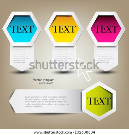 Colorful bookmarks for text. Colorful paper arrows. - stock vector