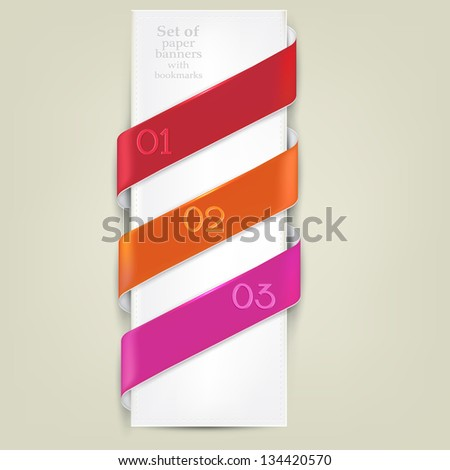 Colorful bookmarks for text. Vector background - stock vector