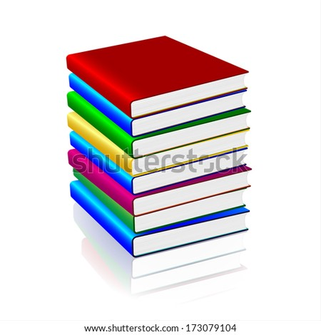 Colorful books pile isolated on white.