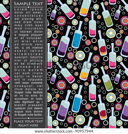 Colorful bottles on black background - stock vector