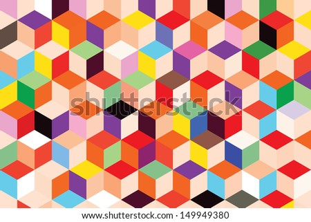 Colorful box pattern abstract background - stock vector
