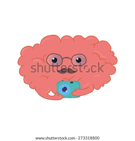 Colorful brain cartoon illustration, great for your t-shirt - stock vector