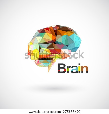 Colorful brain low polygon, Idea concept background design for poster flyer cover brochure, business idea. - stock vector