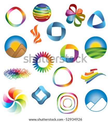 COLORFUL BRAND IDENTITY DESIGN ELEMENTS. Vector icons and symbols such as logos. - stock vector