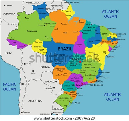 Colorful Brazil Political Map Clearly Labeled Stock Vector - Political map of brazil