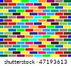 colorful brick wall background - stock photo