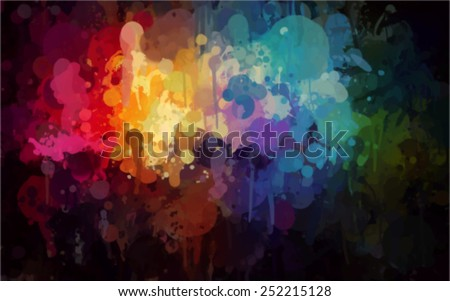 Colorful bright brush strokes background. Vector version - stock vector