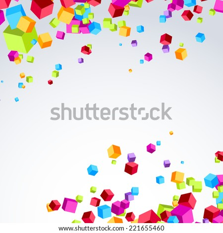Colorful bright cube exploded particle background. Vector illustration - stock vector