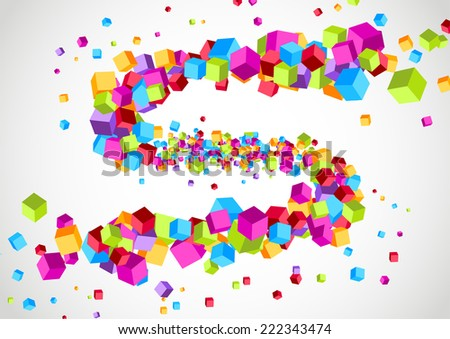 Colorful bright cubic particle tornado swoosh. Vector illustration - stock vector