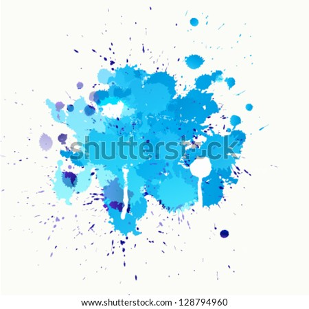 Colorful bright ink splashes - stock vector
