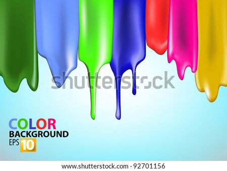 Colorful bright paint splashes on blue background - stock vector