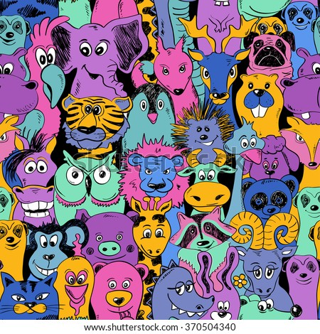 Colorful bright psychedelic seamless pattern with funny animals. Abstract graphic animal background. - stock vector