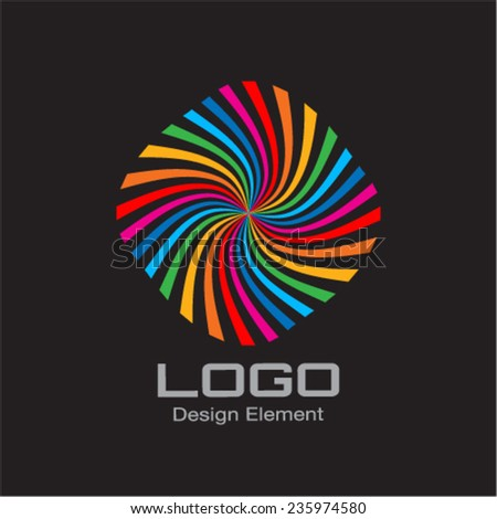 Colorful Bright Rainbow Spiral Logo on Black Background. Vector Illustration - stock vector