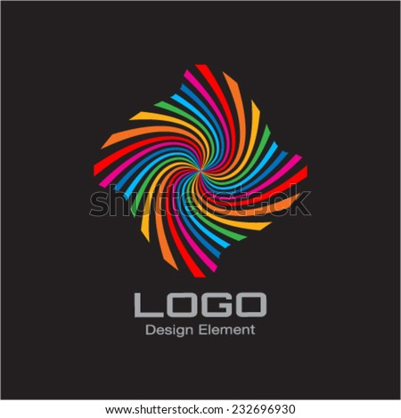 Colorful Bright Rainbow Spiral Logo. Vector Illustration - stock vector