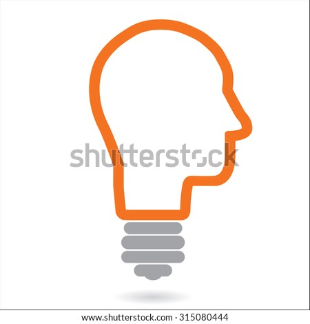 colorful bright simple glowing idea light bulb in a young male human head or thinking mind - abstract unique innovative success concept symbol icon with black background - stock vector