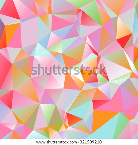 Colorful bright triangle polygon background frame. Abstract  Geometrical Backdrop. Geometric design for business presentations web template, flyer, banner. vector Illustration eps10 blue red - stock vector