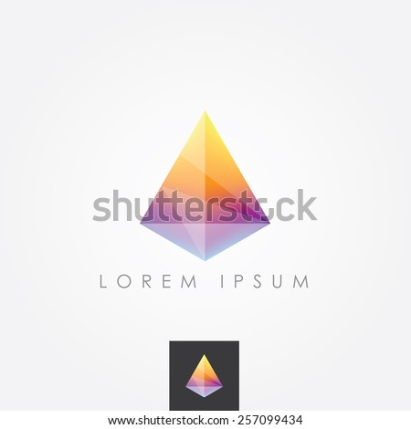 colorful bright vivid facet crystal gem polygon logo element isolated on light background - stock vector