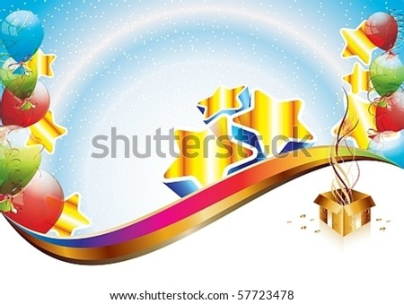 Colorful brightly backdrop with balloons, confetti, ribbons and gift box - eps10 vector - stock vector