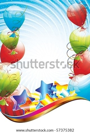 Colorful brightly backdrop with balloons, confetti, ribbons - eps10 vector - stock vector