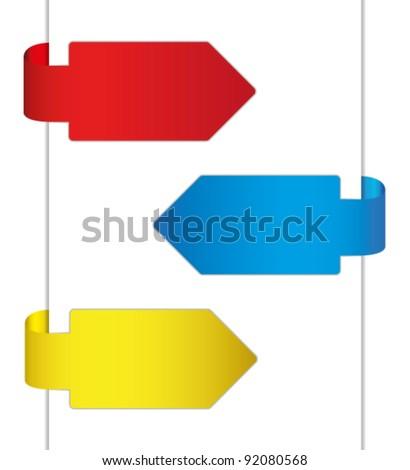 Colorful brochure design by arrow. - stock vector