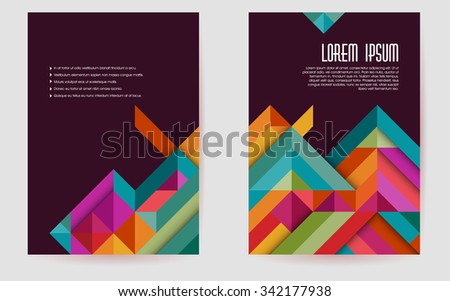 Colorful brochure template design, abstract triangles,eps10 vector - stock vector