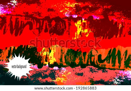 Colorful brush stroke abstract hand painted vector acrylic background.Decorative chaotic texture for scrapbooking pages, banner, cards. Handmade overlay backdrop. Bright artistic painting on paper.
