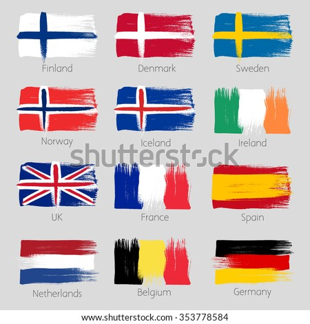Colorful brush strokes painted european countries flags icons set. Painted texture. - stock vector