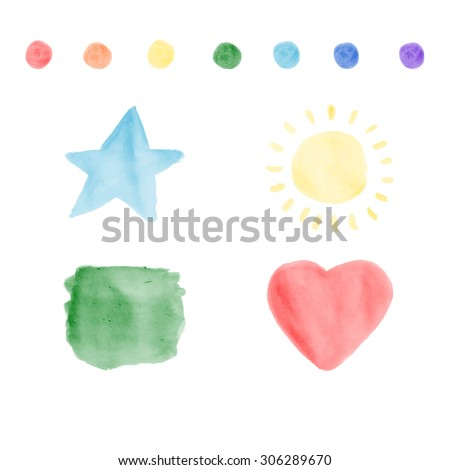 Colorful brushes stroke vector Watercolor brush strokes Colorful brushe stroke vector Hand drawn watercolor elements: star brush, sun, square blob and heart brush, circle brush, each in rainbow colors