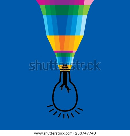 colorful brushing connecting with bulb  - stock vector