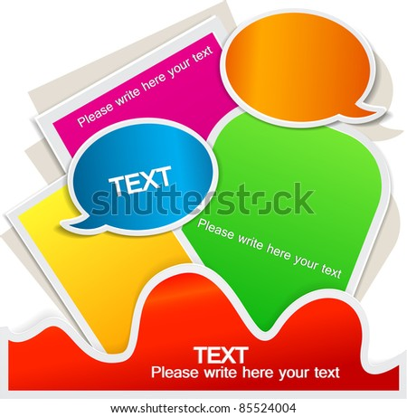 Colorful bubble for speech. Website element - stock vector