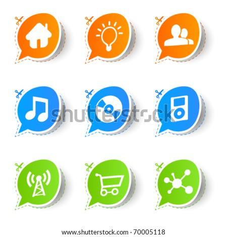 Colorful bubble icon sticker collection - stock vector