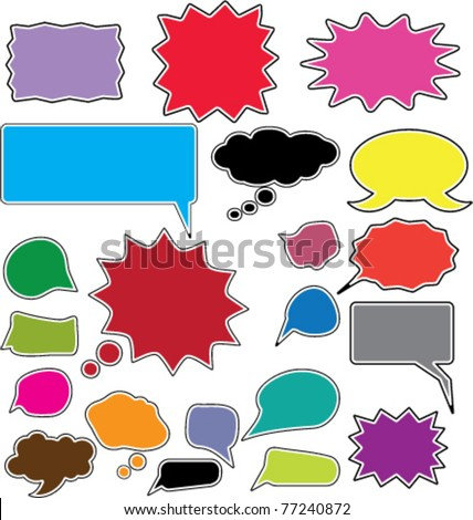 colorful bubbles & chat, speak, icons, signs, vector illustrations - stock vector