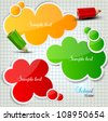 Colorful bubbles for speech on chequered sheet - stock vector