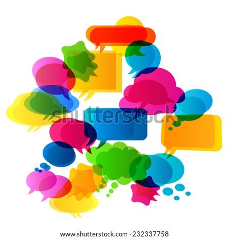 colorful bubbles speech - stock vector