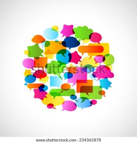colorful bubbles speech, no transparencies - stock vector
