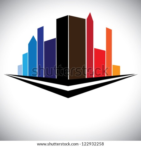 colorful buildings of cityscape urban setting with tall skyscrapers, towers and street in red, orange, brown, blue and purple colors - stock vector