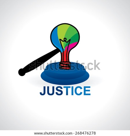 colorful bulb like auction and hammer justice vector illustration  - stock vector