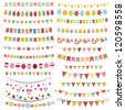 Colorful bunting and garlands - stock photo