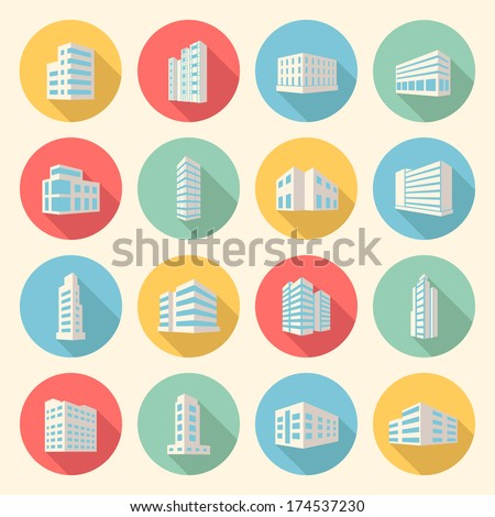 colorful business buildings flat design icons set. template elements for web and mobile applications - stock vector