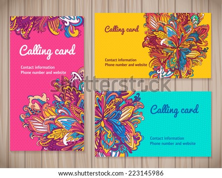 Colorful business cards template different floral stock vector colorful business cards template in different floral styles vector floral business card set on wood colourmoves