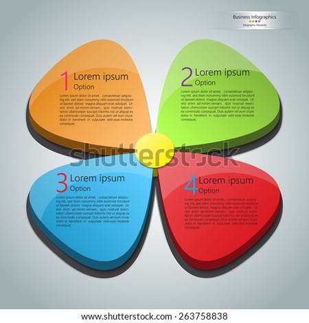 Colorful Business Infographics Elements. Flower Design with 4 Options on Abstract Grey Background. Vector Illustration