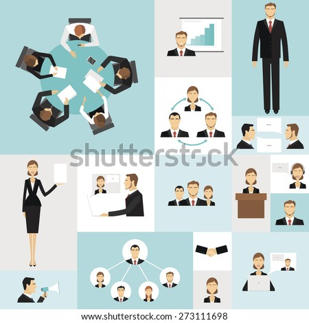Colorful business meeting icons set of time money launch success symbols vector illustration. - stock vector