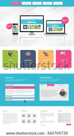 Colorful Business One page website design template. Vector Design.  - stock vector