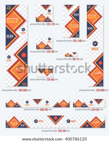 Colorful Business Standard 10 Sizes Website Banners Template Big Set - stock vector