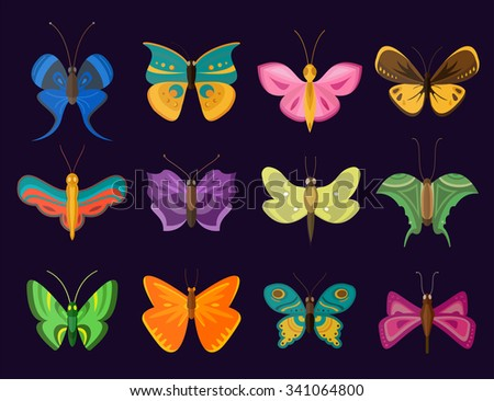 Colorful butterflies flat style vector collection. Vector butterfly set. Butterfly colorful different types. Butterfly  silhouette isolated on dark background. Butterfly blue, butterfly colorful icons - stock vector