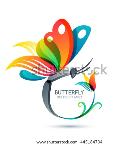 Colorful butterfly and flower, vector isolated illustration. Round floral frame with butterfly. Logo design elements. Concept for beauty salon, fashion, spa, cosmetics or makeup labels. - stock vector